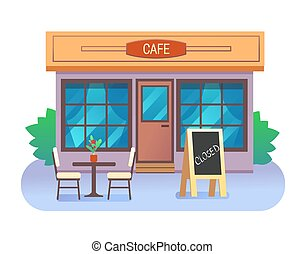 Cafe building closed with table, chairs and text in wooden fram. Vector illustration.