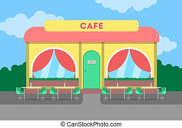 Cafe building in the city. Cafeteria exterior