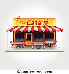 Cafe building isolated vector illustration