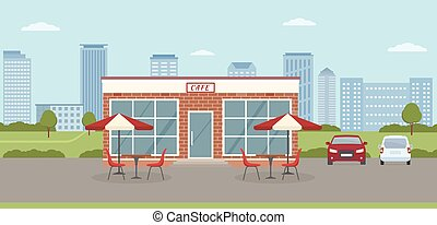 Cafe building with parking lot on city background. Urban landscape.