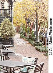 Cafe chairs on sidewalk Historic Savannah