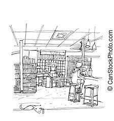 cafe coffee shop, cook store cat and dog, concept business illustration