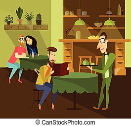 Cafe concept vector illustration