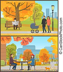 Cafe Customers Couple and Park in Autumn Vector