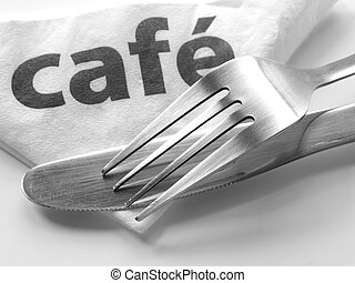Cutlery and paper napkin