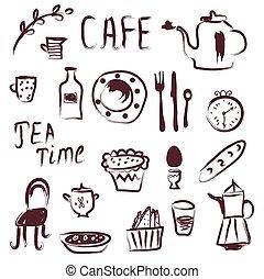 Cafe design elements set
