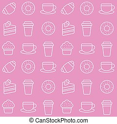 Cafe desserts seamless pattern
