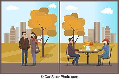 Cafe Dining with Coffee in Autumn Park Set Vector