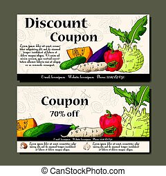 Cafe discount voucher for your business. Modern style with food element on background. Template vector with vegetables for farmers