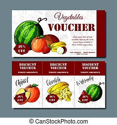 Cafe discount voucher for your business. Modern style with food element on background. Template vector with fruitsf or farmers.