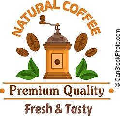 Cafe emblem. Retro coffee mill label