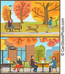 Cafe Exterior Clients Drinking Beverages Vector