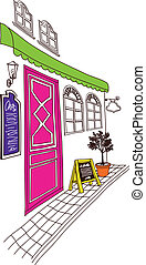 cafe exterior - This illustration is a common natural...
