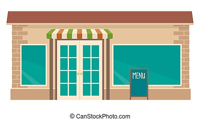 Cafe. Flat vector illustration. Isolated on white background.