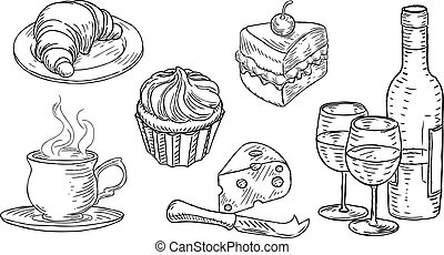 Cafe Food Vintage Retro Woodcut Style