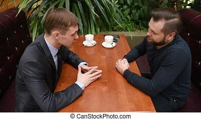cafe., hommes, deux, temps, hommes affaires, avoir, réunion, beau