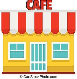 Cafe icon, flat style.