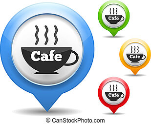 Map marker with icon of a cafe, four different colors, vector eps10 illustration
