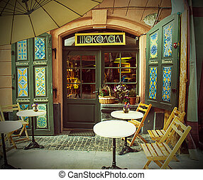 Cafe chocolate in the Centre of the European City Lviv