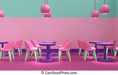 Cafe interior. 3d rendering
