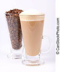 Glass of cafe latte with a glass of coffee beans on white background