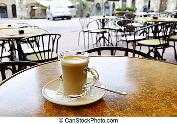 Cafe latte in an Italian village