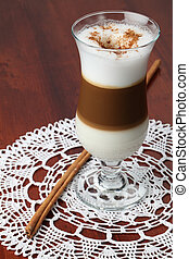 Cafe latte with cinnamon - Freshly made cafe latte with ...