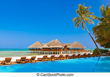 cafe, maldiverna, slå samman, strand