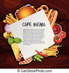 Cafe menu background template with different types of food