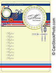 (cafe), menu., vect, fransk, restaurang