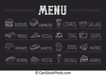 Cafe menu with food and drinks on chalkboard. Sketch of ...