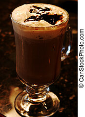 Cafe Mocha - Coffee mocha drink topped with chocolate syrup