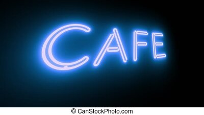 Cafe neon sign illuminated shows diner with food available. Advertising coffee house or breakfast bar - 4k