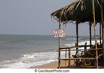 Cafe on a beach, free WIFI, India Goa - Cafe on a beach free...