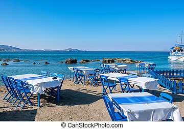 Cafe on a beach. Kolymbia. Rhodes, Greece