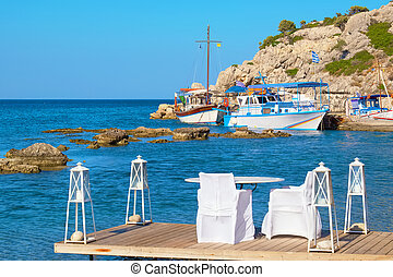 Cafe on a coast. Kolymbia. Rhodes, Greece