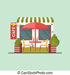 cafe on street - Cafe on street. Cartoon flat vector...
