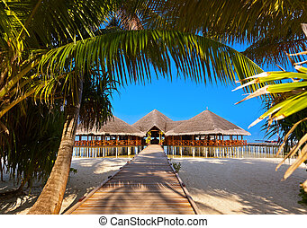 Cafe on tropical Maldives island