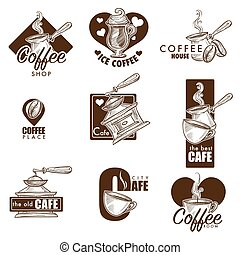 Cafe or coffee house vector sketch icons - Cafe and...