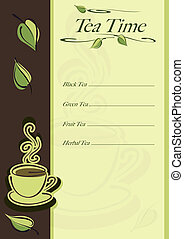 Cafe or restaurant card for tea menu. Cup of hot tea and...