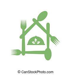 Cafe or restaurant serving Organic food logo- leaf symbolizing Vegetarian friendly diet by European Vegetarian Union