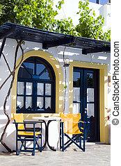 cafe or taverna or hotel setting greek islands - cafe,...