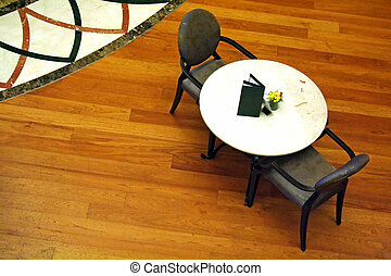 Overhead view of a cafe table with chairs