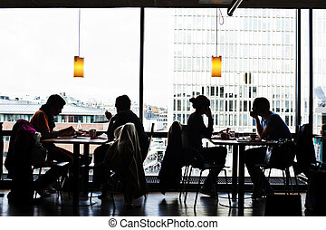 Cafe - People in slhouette at cafe.