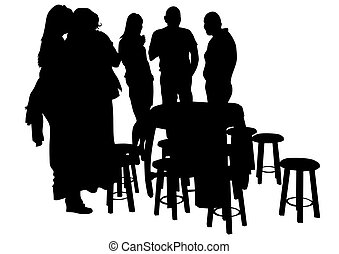 Cafe people on white