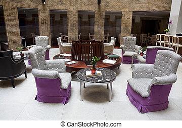 Cafe - restaurant indoor with luxury wooden furniture