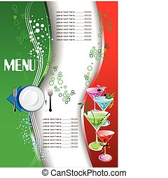 (cafe), restaurant, menu., ve, gekleurde