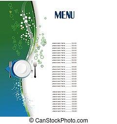 (cafe), ristorante, menu., vec, colorato