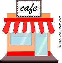 Cafe shop - A cafe shop.vector icon.