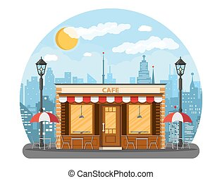 Cafe shop exterior. Cityscape